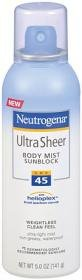 Neutrogena Ultra Sheer Sunblock Body Mist, SPF 45, 5 Ounce