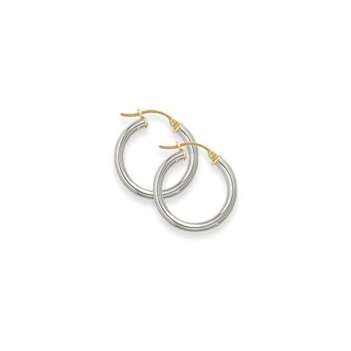 Traditional 1 Inch White Gold Hoop Earrings Jewelry
