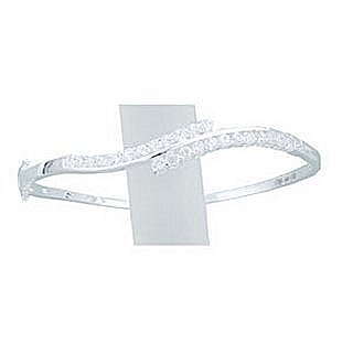 Sterling Silver CZ Twist Bangle - Width 3mm - Setting 50mm x 10mm