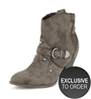 Limited Edition Faux Suede Studded Western Ankle Boots with Insolia®