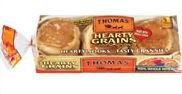 Thomas' Hearty Grains 100% Whole Wheat English Muffins, 12 oz (Pack of 2)