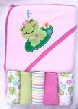 Cutie Pie Hooded Towel and 5 Washcloth Set- Pink Frog - 1