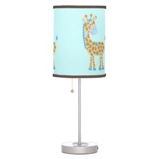 Blue giraffe jungle jill nursery lamp with brown trim for Jungle floor lamp for nursery