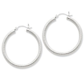 Genuine IceCarats Designer Jewelry Gift Sterling Silver Patterned 35Mm Hoop Earrings