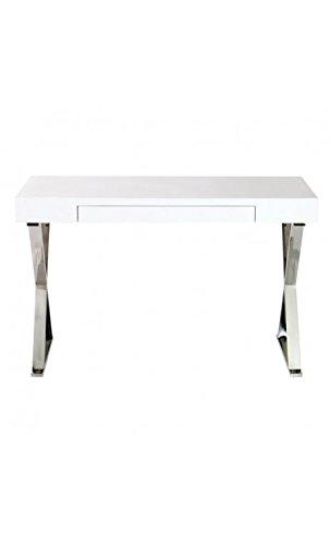 CAMINO A CASA - Bureau design blanc et chrome 120 cm Cruz