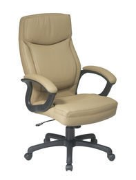 Office Star WorkSmart Executive High Back Eco Leather Chair with Locking Tilt Control, Tan