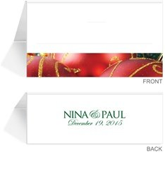 80 Personalized Place Cards - Christmas Ornaments