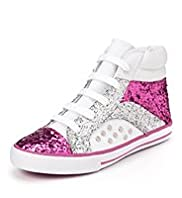 Lace Up High Top Cuff Glitter Trainers