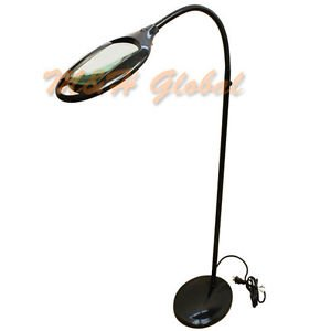 Amazon Com Flexible 3 Diopter Magnifying Lamp Floor Stand Gooseneck Led Magnifier Black Home