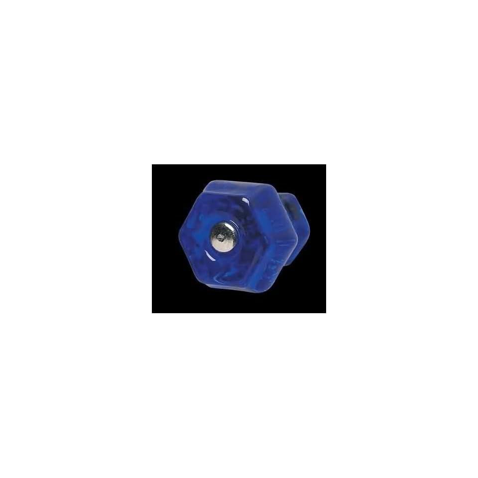 Cabinet Knobs, Blue Glass Hexagon Cabinet Knob w/ Chrome Screw