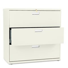 - 600 Series Three-Drawer Lateral File, 42w x 19-1/4d, Putty
