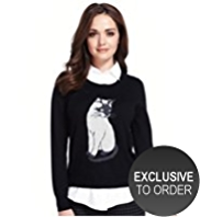 Petite Cat Print Mock Shirt Jumper with Angora