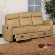 BH Design Leather Match Sofa with Recliners, Brown