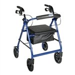 "Drive Medical Aluminum Rollator with Fold Up and Removable Back Support, Padded Seat, 8"" Casters with Loop Locks, Blue"