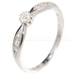 Diamond 9ct White Gold Engagement Ring  Curved