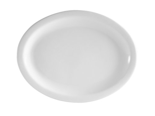 CAC China NCN-14 Clinton Narrow Rim 13-Inch by 10-1/8-Inch Super White Porcelain Oval Platter, Box of 12
