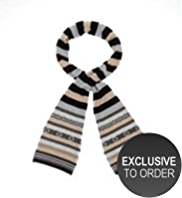 M&S Collection Pure Cashmere Striped & Fair Isle Scarf