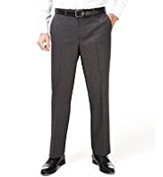 Straight Leg Flat Front Twill Trousers