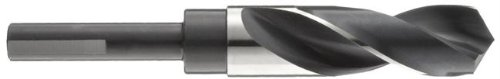 """Drill America Dwdrsd Series Qualtech High-Speed Steel Economy Reduced-Shank Drill Bit, Black Oxide Finish, Round Shank, Spiral Flute, 118 Degrees Conventional Point, 49/64"""" Size (Pack Of 1)"""