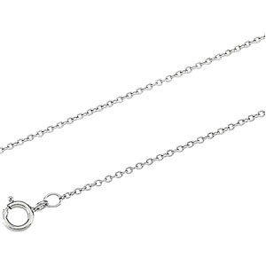 18K White Gold Cable Chain - 20 inches