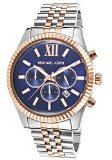 Michael Kors Men's Lexington 45mm Chronograph Steel Bracelet & Case Quartz Blue Dial Date Watch MK8412