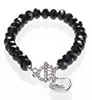M&S Collection Multi-Faceted Sparkle T-Bar Heart Bracelet
