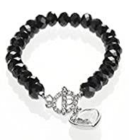 Multi-Faceted Sparkle T-Bar Heart Bracelet