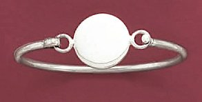 Sterling Silver Baby-Size Bangle, 2mm wide, 5/8 inch dia Round Engraveable Plate, 6-1/2 inch