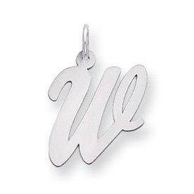 Sterling Silver Large Script Intial W Charm - JewelryWeb