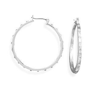 36mmx2.5mm Click Hoop Fashion Earrings with Crystals