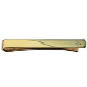British Jewellery Workshops Hard Gold plated 6x55mm star set CZ Tie Slide