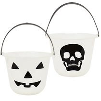 Set of 2 Glow in the Dark Pumpkin Treat Bucket with 2 bonus Halloween bracelets