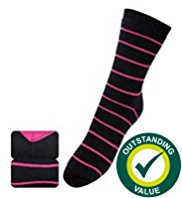 2 Pairs of Striped Ankle High Thermal Socks