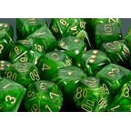 Chessex Dice: Polyhedral 7-Die Vortex Dice Set - Green w/gold