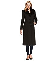 M&S Collection Wool Blend Faux Fur Collar Coat with Cashmere