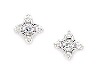 14ct White Gold CZ Medium Flower Screwback Earrings - Measures 9x9mm