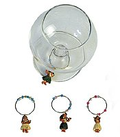 Hawaiian Wine Glass Charms Hula Doll Set