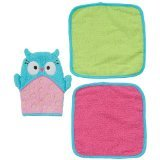 Kids R Us Girl Owl Wash Mitt & 2 Washcloths
