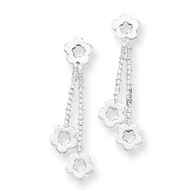 Sterling Silver Flower Post Earring Dangling