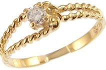 14k Yellow Gold, Dainty Abstract Design Promise Ring with Lab Created Round Stone