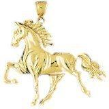 CleverEve 14K Yellow Gold Running Horse Pendant 11.4 Grams