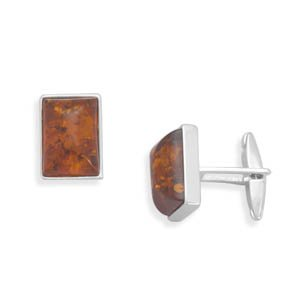 Sterling Silver Amber Cuff Links Baltic Amber Is 15mm X 11mm - JewelryWeb