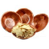 """Round Woven Wood Snack or Salad Bowl: 10"""""""