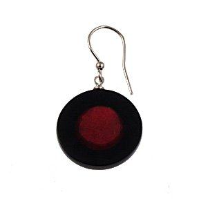 Origin Jewelry Red and Black Round Two Toned Earrings
