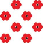 Printed Patterned Tissue Wrapping Paper flowers at large red poppies luxury 5 sheets