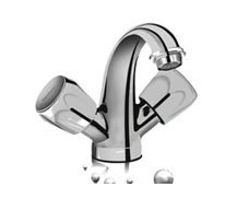 Hindware Classik Central Hole Basin Mixer W/O Popup Waste Sysyem With 450Mm Flexible Hose