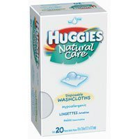 Huggies Natural Care Disposable Washcloths Hypoallergenic 20 Each - 1