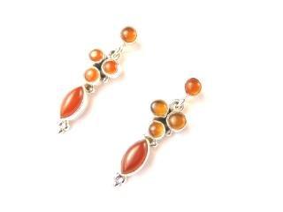 Beautiful Things For Women Carnelian Gemstone Stamped 925 Sterling Silver Stud Earrings 3.5 cm in length and each earring weighs 3.4 g