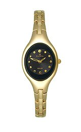 Bulova Gold-Tone Bracelet Black Dial Women's Watch #97V31