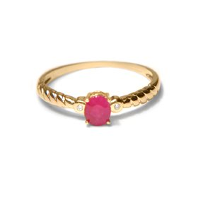 .01CT Round Diamond and Oval Ruby Ring